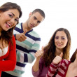 Gang of four best friends with thumbs up — Stock Photo #1665025