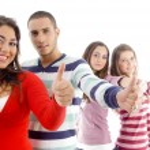 turma de amigos melhores com polegares para cima — Foto Stock
