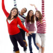 Stock Photo: Teenage group of friends having fun