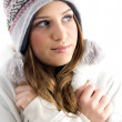 Beautiful female shivering in cold — Stock Photo