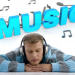 Постер, плакат: Handsome guy tuned in world of music
