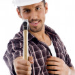 Smiling engineer showing hammer — Foto Stock #1666732