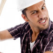 Close up of angry architect with hammer — Stock Photo #1666793