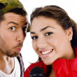 Male and female singers posing together — Stock Photo