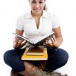 Young student with her notebooks — Stock Photo