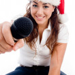 Female model showing microphone — Stock Photo