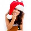 Posing student wearing christmas hat — Stock Photo