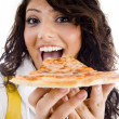 Stock Photo: Pretty woman eating delicious pizza