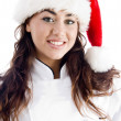 Smiling chef wearing christmas hat — Stock Photo