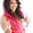 Fashionable woman showing thumbs up — Stock Photo