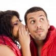 Loving caucasian pair whispering — Stock Photo #1667413