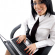 Female manager working on laptop - Foto de Stock