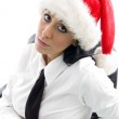 Young woman at work in christmas hat — Stock Photo #1668038
