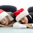 Corporate women taking nap in office — Stock Photo