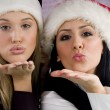 Young women blowing flying kiss — Foto Stock