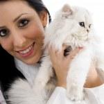 若いモデル彼女の子猫とポーズ — ストック写真