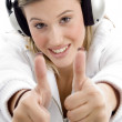 Young female with thumbs up — Stock Photo