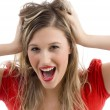 Beautiful shouting woman posing — Stock Photo