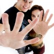 Young couple showing their palms — Stock Photo