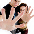 Stock Photo: Young couple showing their palms