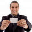 Young executive showing business card — Stock Photo #1669793