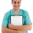 Male doctor with prescription notepad — Stock Photo