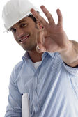 Handsome architect gesturing perfection — Stock Photo