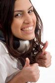 Caucasian female wearing headphones — Stock Photo