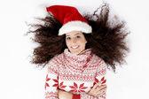 Ovansida av kvinnliga bär jul hatt — Stockfoto