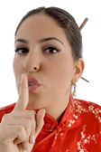 Female showing keep shushing sign — Stock Photo