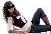 Sexy teen posing with sunglasses — Stock Photo