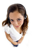 Call center female looking at camera — Stock Photo