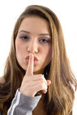 Gorgeous female asking to keep silence — Stock Photo
