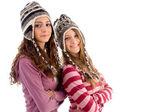 Close-up de jovens adolescentes em tampão de lã — Fotografia Stock