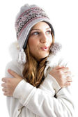 Beautiful young female shivering in cold — Stock Photo