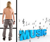 Shirtless man with 3d music text — Stock Photo