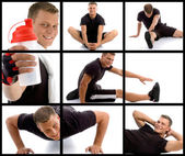 Young sportive man in different poses — Stock Photo