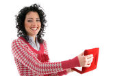 Smiling woman posing with necklace box — Foto de Stock