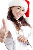 Successful female chef showing thumbs up — Stock Photo