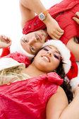 Christmas couple lying on floor — Stock Photo