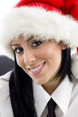 Close up of woman with christmas hat — Stock Photo