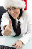Businesswoman with thumbs up — Stock Photo