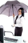 Young professional with umbrella — Foto de Stock