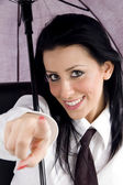 Professional woman pointing at camera — Stock Photo