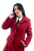 Caucasian model talking on mobile — Stock Photo