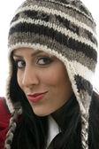 Caucasian model in winter cap — Stock Photo