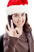 Christmas woman with ok hand gesture — Stock Photo