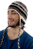 Male wearing cap and looking aside — Stock Photo