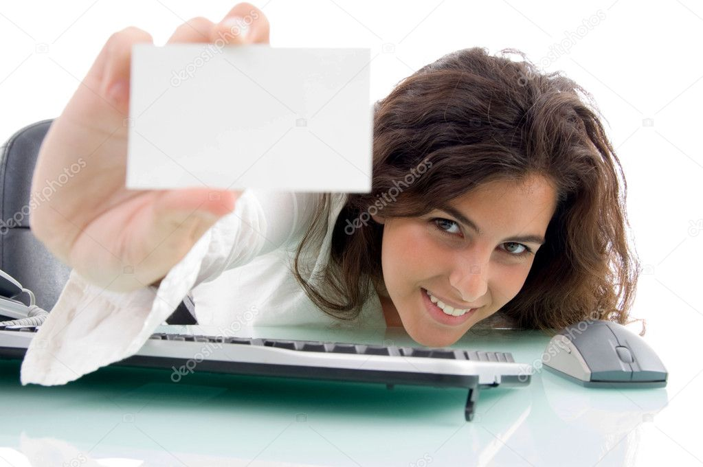 Female showing her business card on an isolated white background  Stock Photo #1662723