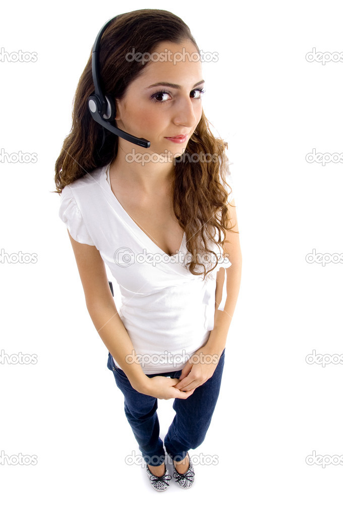 Attractive female wearing headphone on an isolated white background  Stock Photo #1664279